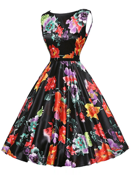 Ericdress Vintage Expansion Print Casual Dress