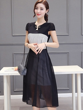 Ericdress Stripe Patchwork Short Sleeve Casual Dress