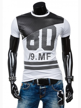 Ericdress Patchwork Number Print Casual Men's T-Shirt