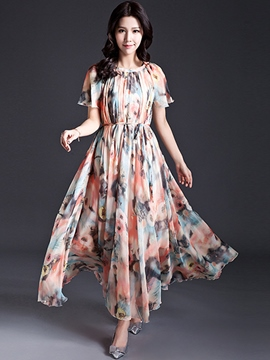 Ericdress Floral Print Pleated Maxi Dress