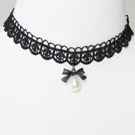 Black Bowknot Lace Necklace