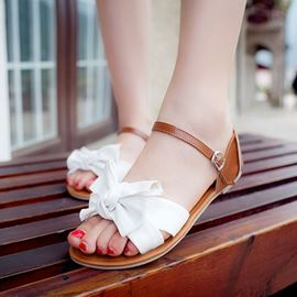 Ericdress Ladylike Bowtie Patchwork Flat Sandals