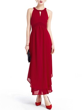 Ericdress Halter Soild Color Maxi Dress