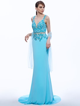 Ericdress Trumpet V-Neck Beading Brush Train Evening Dress