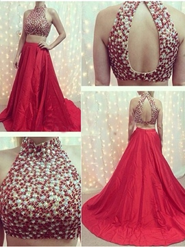 Ericdress Two Pieces A-Line High Neck Beading Court Train Prom Dress