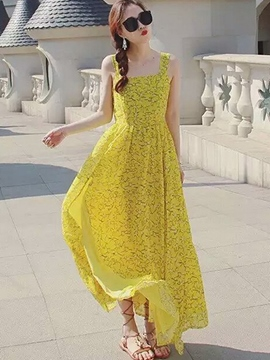 Ericdress Spaghetti Strap Floor-Length Maxi Dress