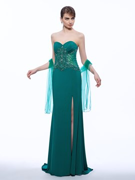 Ericdress Trumpet Sweetheart Beading Split-Front Evening Dress