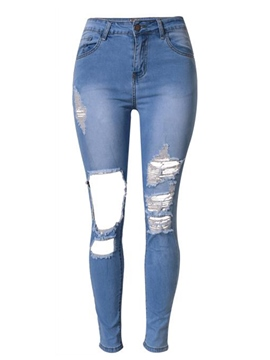 Ericdress Fashion Simple Hole Jeans