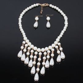Long White Pearl Tassel Jewelry Set