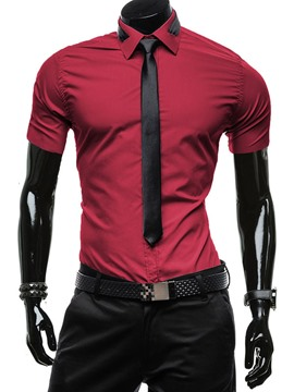 Ericdress Slim Short Sleeve Men's Shirt with Short Sleeve