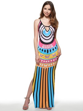 Ericdress Stripe Hollow Split Maxi Dress