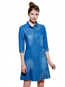 Ericdress Embroidery Denim Casual Dress