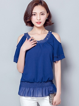 Ericdress Solid Color Off-Shoulder Beads Blouse