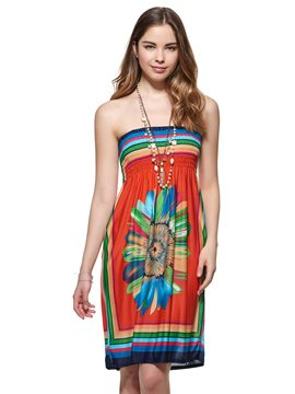 Ericdress Boho Spaghetti Strap Print Casual Dress