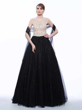 Ericdress A-Line Scoop Beading Long Evening Dress