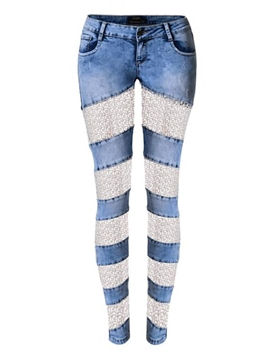 Ericdress Lace Hollow Patchwork Jeans