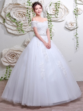 Ericdress Charming Off The Shoulder Short Sleeves Ball Gown Wedding Dress