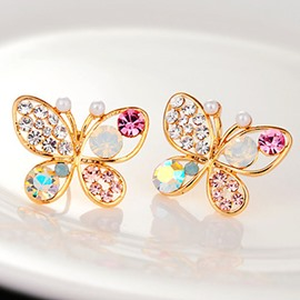 Pearl Hollow Out Butterfly Color Rhinestone Earrings