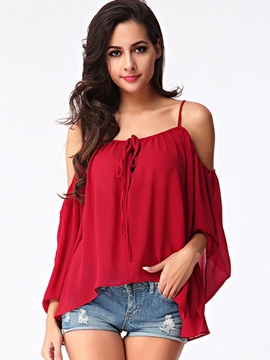 Ericdress Solid Color Off-Shoulder Blouse