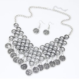 Hollowed Out Flowers Coins Jewelry Set