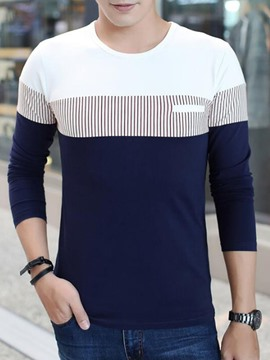 Ericdress Color Block Long Sleeve Slim Fit Men's T-Shirt