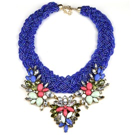 Royalblue Ethnic Style Flower Necklace