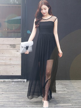 Ericdress Mesh Patchwork See-Through Maxi Dress