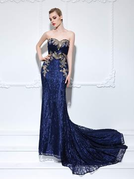 Ericdress Sweetheart Trumpet Sequins Lace Court Train Evening Dress