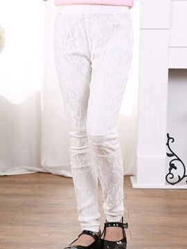 Ericdress Solid Color Lace Patchwork Girls Leggings