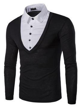 Ericdress Long Sleeve Shirt Collar Double-Layer Men's T-Shirt