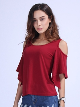 Ericdress Solid Color Off-Shoulder T-Shirt