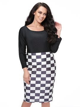 Ericdress Color Block Patchwork Plus Size Sheath Dress