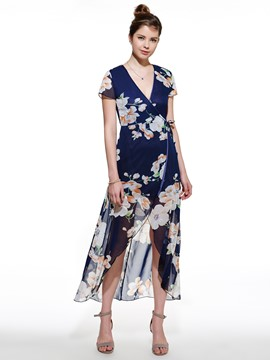 Ericdress Beach Print Split Long Maxi Dress