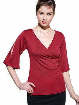 Ericdress V-Neck Asymmetric Off-Shoulder T-Shirt