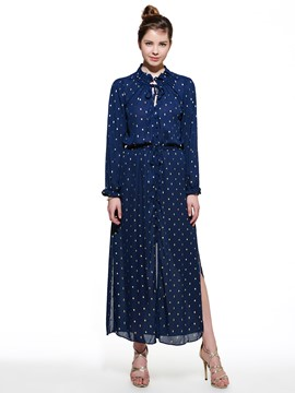 Ericdress European Chiffon Polka Dots Maxi Dress
