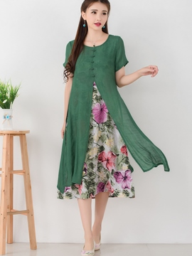 Ericdress Flower Print Double-Layer Ethnic Casual Dress