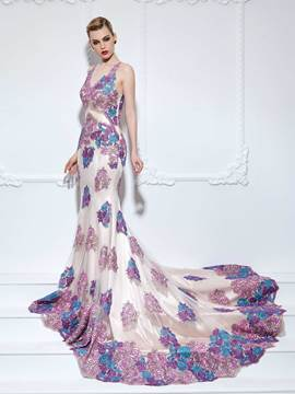 Ericdress Mermaid V-Neck Appliques Lace Flowers Court Train Evening Dress