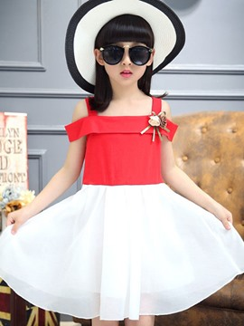 Ericdress Off Shoulder Color Block Girls Dress