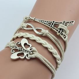 Butterfly Tower White Woven Bracelet