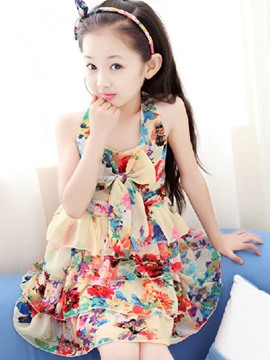Ericdress Sleeveless Floral Girls Dress