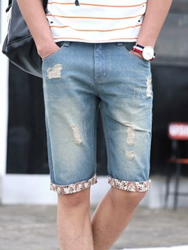 Ericdress Denim Holes Half Leg Men's Shorts