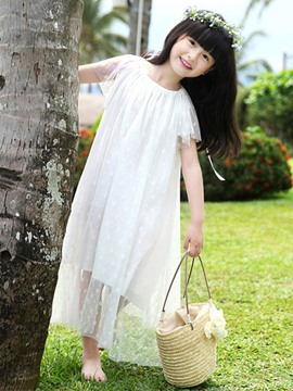 Ericdress Solid Color Girls Summer Dress