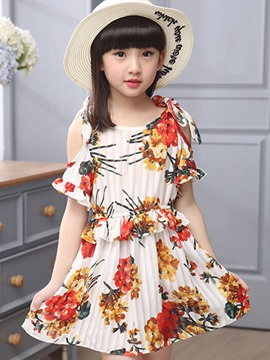 Ericdress Floral Print Off Shoulder Girl Dress