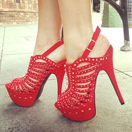 Ericdress Red Studded Peep-Toe Stiletto Sandals