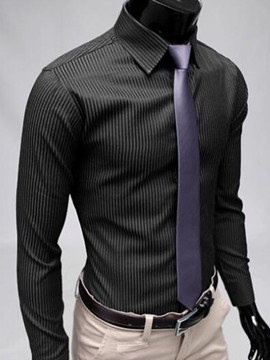 Ericdress Plain Business Long Sleeve Stripe Men's Shirt