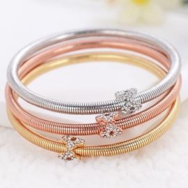 Three Color Plating Alloy Spring Bracelet