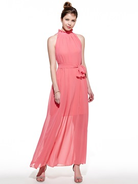 Ericdress Amazing Stand Collar Sleeveless Pure Color Chiffon Maxi Dress