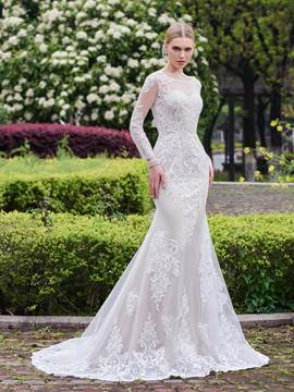 Ericdress Beautiful Appliques Mermaid Long Sleeves Wedding Dress
