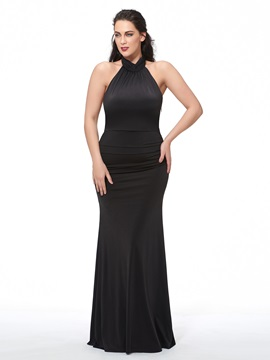 Ericdress Plus Size Halter Sheath Pleats Sweep Train Evening Dress