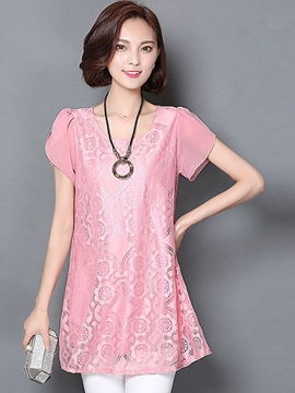 Ericdress Slim Solid Color Lace Patchwork Blouse